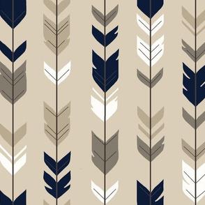 Arrow Feathers- NAVY Midnight Woodland