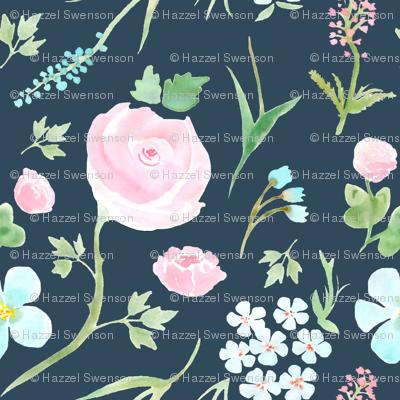 Watercolor Floral (navy)