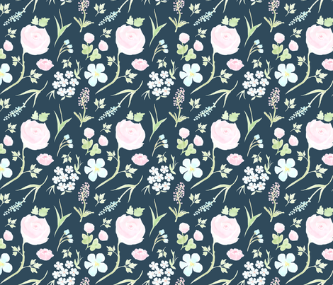 Watercolor Floral (navy) fabric by hazelnut_green on Spoonflower - custom fabric