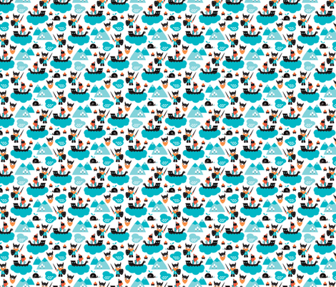 Scandinavian vikings and pirate ship illustration pattern XS fabric by littlesmilemakers on Spoonflower - custom fabric
