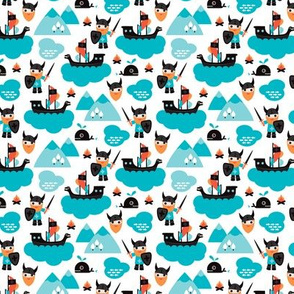 Scandinavian vikings and pirate ship illustration pattern XS