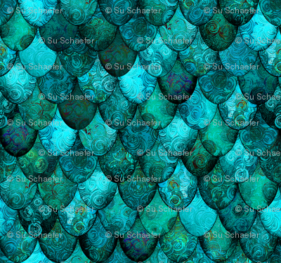 Small Dark Teal Mermaid Or Dragon Scales After Faberg 233