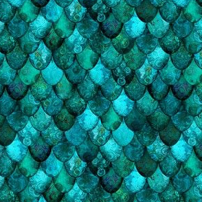 SMALL Dark Teal Mermaid or Dragon Scales, after Fabergé, by Su_G