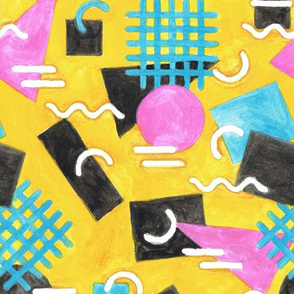 Abstract Watercolour Memphis - Yellow