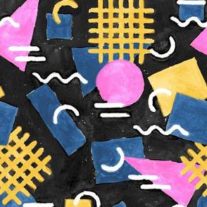Abstract Watercolour Memphis - Black