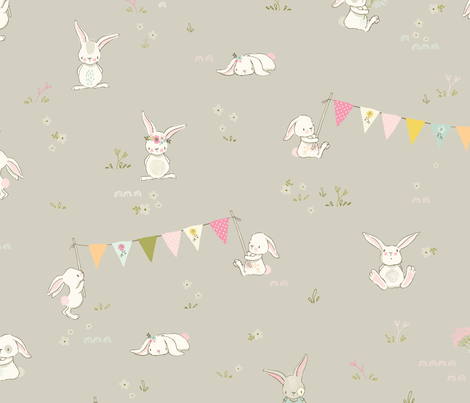 Bunnies have a party fabric by lisa-glanz on Spoonflower - custom fabric