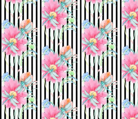 Dragonflies on Stripe fabric by floramoon on Spoonflower - custom fabric