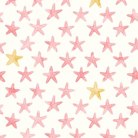 (small scale) starfish - mermaid coordinate (warm) fabric by littlearrowdesign on Spoonflower - custom fabric