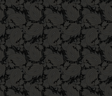 Meredith Paisley - Black fabric by meganpalmer on Spoonflower - custom fabric