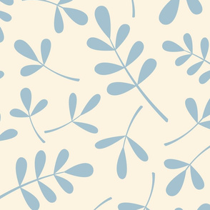 Assorted Leaves Pattern Blue on Cream