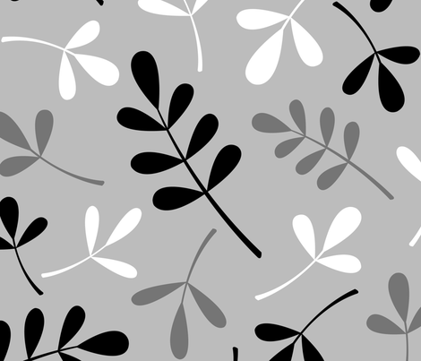 Assorted Leaves Pattern Monochrome fabric by natalie_paskell on Spoonflower - custom fabric