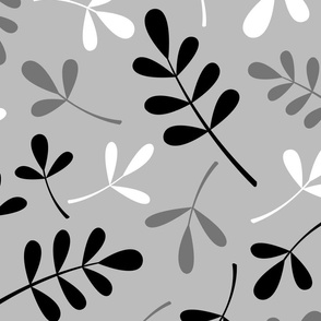 Assorted Leaves Pattern Monochrome