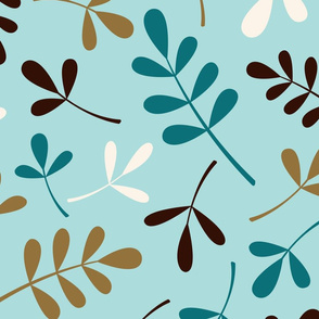 Assorted Leaves Ptn Teals Brown Cream Gold
