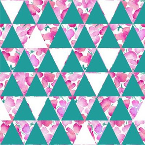Geometric Triangles and Sweetpeas - Teal