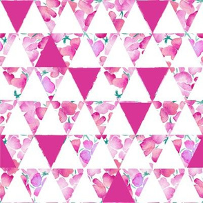 Geometric Triangles and Sweetpeas - Pink