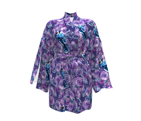 Blue Jay in Violet Flowers