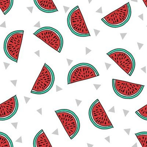 watermelon fabric // summer fruits fabric cute fruit food summer tropical design by andrea lauren - white