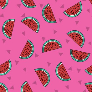 watermelon fabric // summer fruits fabric cute fruit food summer tropical design by andrea lauren - red and pink