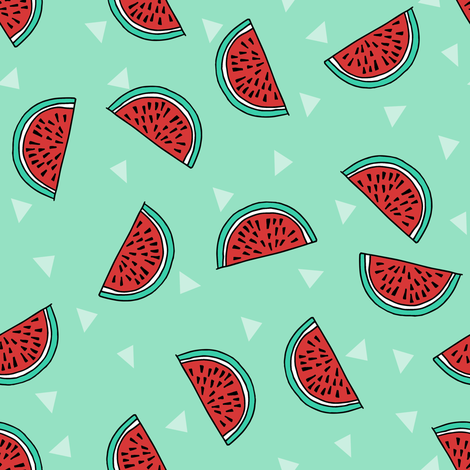 watermelon fabric // summer fruits fabric cute fruit food summer tropical design by andrea lauren - mint fabric by andrea_lauren on Spoonflower - custom fabric
