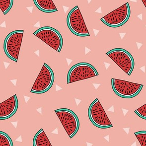 watermelon fabric // summer fruits fabric cute fruit food summer tropical design by andrea lauren - peach