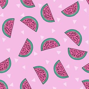 watermelon fabric // summer fruits fabric cute fruit food summer tropical design by andrea lauren - pink