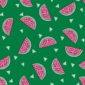 watermelon fabric // summer fruits fabric cute fruit food summer tropical design by andrea lauren - green and pink