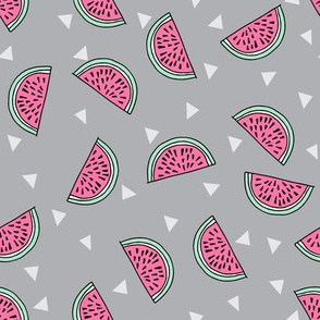watermelon fabric // summer fruits fabric cute fruit food summer tropical design by andrea lauren - grey and pink
