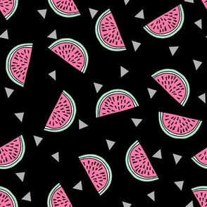 watermelon fabric // summer fruits fabric cute fruit food summer tropical design by andrea lauren - black and pink