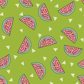 watermelon fabric // summer fruits fabric cute fruit food summer tropical design by andrea lauren - lime and pink