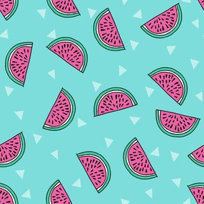 watermelon fabric // summer fruits fabric cute fruit food summer tropical design by andrea lauren - blue and pink