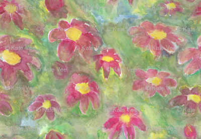 Abstract Flower Patch watercolor