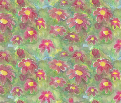 Abstract Flower Patch watercolor fabric by colour_angel_by_kv on Spoonflower - custom fabric