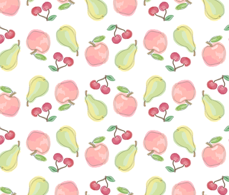 Apples, pears and cherries fabric by almerk_design on Spoonflower - custom fabric