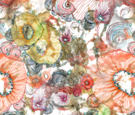 cosmic radiance abstract watercolor fabric by mimipinto on Spoonflower - custom fabric