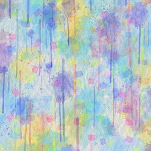WATERCOLOR ABSTRACT TENDERNESS BLUE YELLOW SUMMER