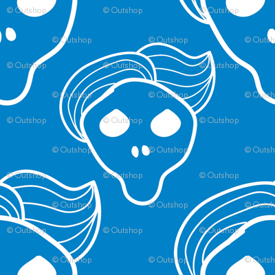 Blue skull with trendy hairstyle