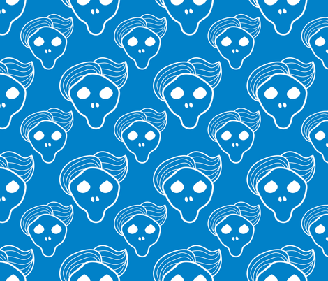Blue skull with trendy hairstyle fabric by outshop on Spoonflower - custom fabric