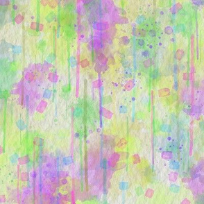 WATERCOLOR ABSTRACT TENDERNESS LIME PURPLE SPRING