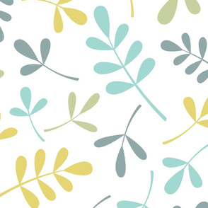 Assorted Leaves Ptn Teals Green Yellow White