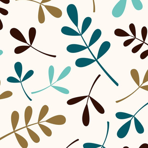 Assorted Leaves Ptn Teals Brown Gold Cream