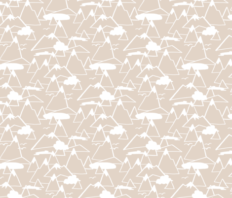 Mountain Scene in Beige fabric by figandfossil on Spoonflower - custom fabric