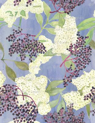 Elderberries and Flowers on Blue