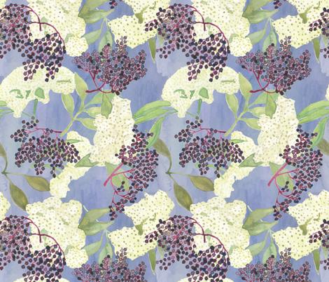 Elderberries and Flowers on Blue fabric by bloomingwyldeiris on Spoonflower - custom fabric