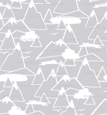 Mountain Scene in Grey