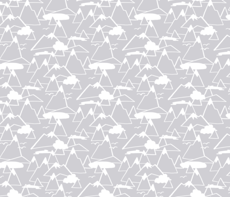 Mountain Scene in Grey fabric by figandfossil on Spoonflower - custom fabric