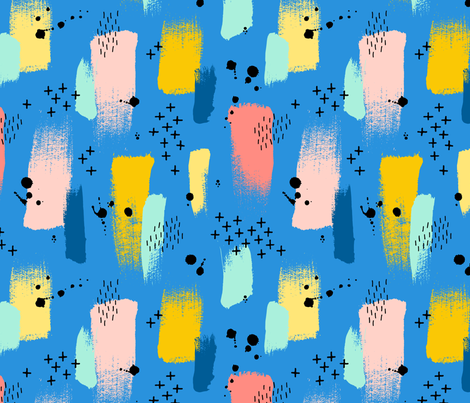 Abstract paint strokes and splatter on blue fabric by heleen_vd_thillart on Spoonflower - custom fabric