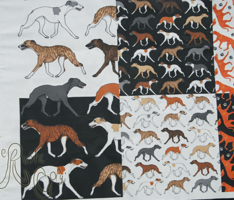 Trotting Whippet border A - small