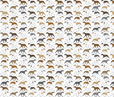 Trotting Whippet border A - small fabric by rusticcorgi on Spoonflower - custom fabric