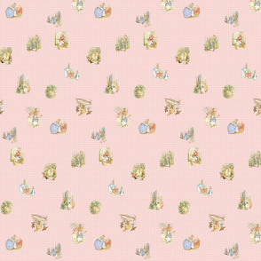 Peter Rabbit Tossed Light Pink Gingham