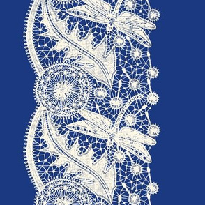 Dragonfly Lace ~ Border Print ~ Cosmic Latte on Willow Ware Blue
